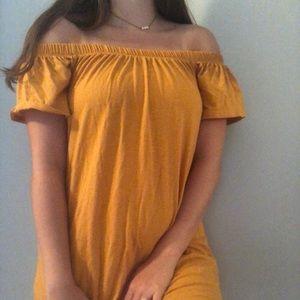 yellow golden off the shoulder t-shirt dress